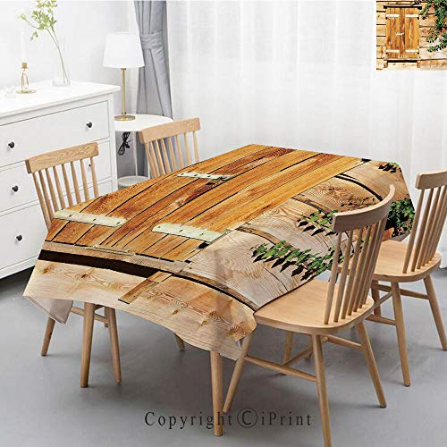 Print Series Rectangle Tablecloth Cotton and Linen Dust proof Absorption Table Cover for Photography Background Dining,55x102 Inch,Shutters,Facade of an Old Building Wooden Shutters Traditional House ()