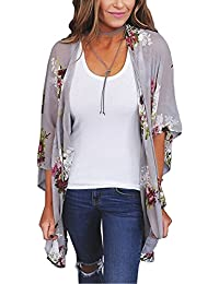 Womens Floral Print Loose Puff Sleeve Kimono Cardigan Lace Patchwork Cover up Blouse