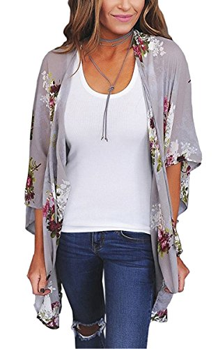 ECOWISH Womens Floral Print Loose Puff Sleeve Kimono Cardigan Lace Patchwork Cover up Blouse D2003Gray M