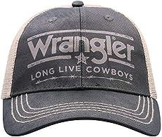 Wrangler Mens Black White Long Live Cowboys Adjustable Snapback Hat cfa5a343d26d