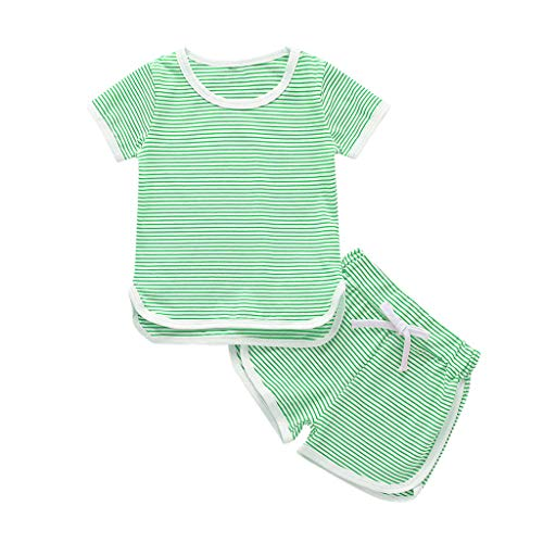Trule Toddler Kids Baby Girl Boy Stripe Tops T-Shirt Shorts Pajamas Pjs Clothes Set Children's Home Service Suit Green