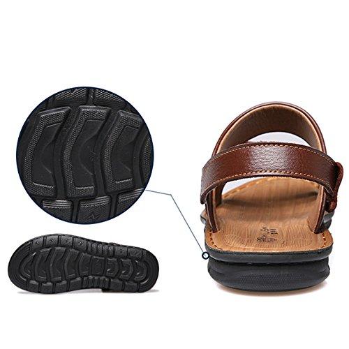 Punta Playa Zapatillas Verano Zapatos Los Más Tamaño Papá De Real Cuero Para 47 De Sandalias Brown1 Abierta 37 Chanclas Cuero De De Hombres P40nFq