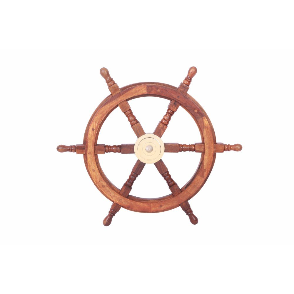 The Urban Port Tup 24'' Teak Wood Ship Wheel with Brass Inset and Six Spokes, Brown and Gold by The Urban Port