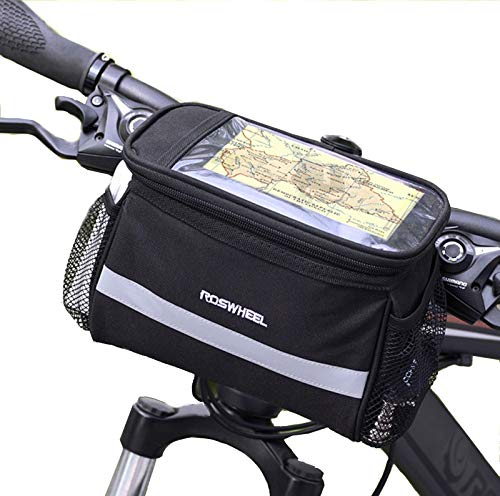 StyleZ Cycling Bike Bicycle Handlebar Zipped Bag Front Basket with Clear Map Pocket