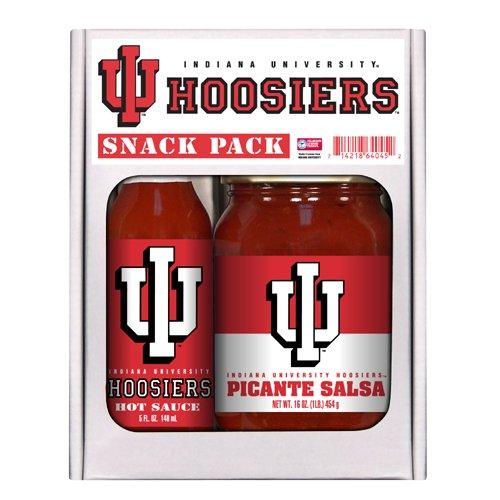 Indiana Hoosiers Hot Sauce (Indiana Hoosiers NCAA Snack Pack (5oz Hot Sauce, 16oz Picante Salsa))