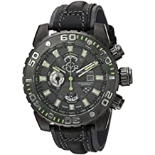 GV2 by Gevril Polpo Mens Chronograph Swiss Quartz Black Leather Strap Watch, (Model: 1403)