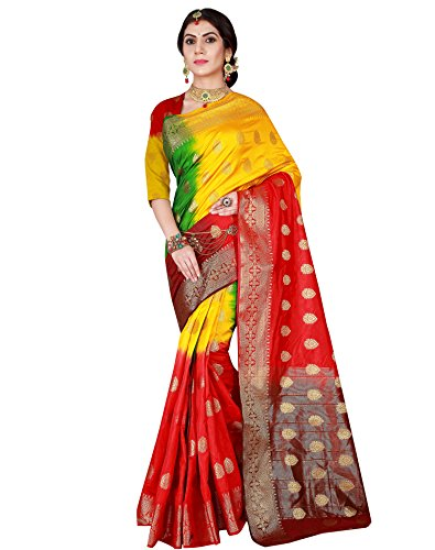 Viva N Diva Women's Red & Yellow Color Banarasi Silk Saree With Unstitched Blouse Piece,Red & Yellow,Free (Designer Chiffon Sarees)