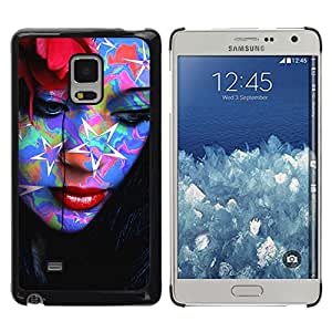 CASEX Cases / Samsung Galaxy Mega 5.8 9150 9152 / Abstract Pop Art Tattoo Woman # / Delgado Negro Plástico caso cubierta Shell Armor Funda Case Cover Slim Armor Defender