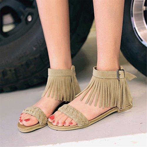 Boots Exing Poliuretano Open Summer con Comfort Slouch Scarpe Sandali Toe da PU Donna Un Nappe Tacco Passeggio da Tracolla Scarpe Intrecciata Piatto rx8Cqr
