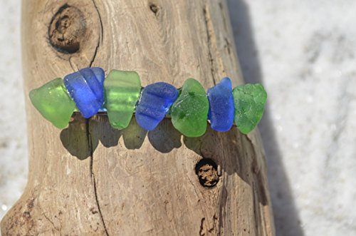 Genuine Cobalt Blue and Kelly Green Sea Glass French Barrette Hair ()