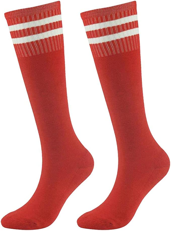 saillsen Kids' Soccer Socks, Boys' Girls' Sports Striped Cushion Tube Socks, 2 Pairs