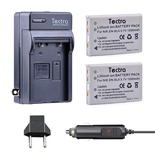 Tectra 2-Pack EN-EL5 Replacement Batteries and Charger Kit for Nikon Coolpix 3700, 4200, 5200, 5900, 7900, P3, P4, P80, P90, P100, P500, P510, P520, P530, P5000, P5100, P6000, S10 Cameras ()