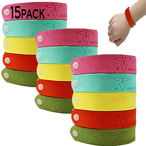 (Mosquito Repellent Bracelet Band For Kids/Adults - All Natural 100% (15 Pack)[420Hrs of Protection] Waterproof DEET FREE Band Bug Repel Effective Plant Based Insect Outdoor Camping Fishing NonToxic )