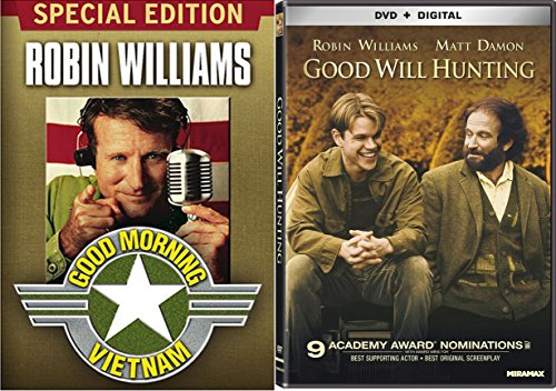 Robin Williams Good Morning Vietnam & Good Will Hunting Set [DVD] 2 Pack Bundle Double Feature Movie Set (Patch Adams What Dreams May Come)