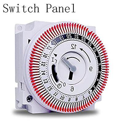 Switch Panel,ASDOMO 24 Hours Moment Switch Timer Mechanical Multi Functional Industrial Device Time Switch Protection Panel