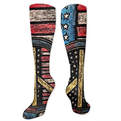 Knee High Compression Socks 15-20 mmHg Best Medical Nursing for Men & Women - Vintage American Flag Peace Sign Painting Art Long Stockings for Athletic/Varicose Veins