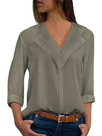Femme T-Shirts Col V Chic Manches Longues Élégant Chemise Couleur ... 7258964a8f1