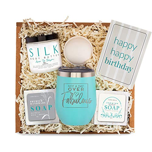 Birthday Gifts Basket for Women – Best Friend Bday Gift for Woman –Happy Birthday Care Box Idea for Her – Surprise Spa Package for Mom Sister Daughter – Unique Fun Female Friends Present Bath Set