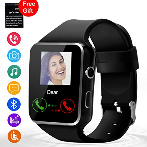 Smart Watch, Touch Screen Bluetooth WristWatch with Camera/SIM Card Slot/Pedometer Analysis/Sleep Monitoring for Android (Full Functions) and IOS (Partial Functions) - Black
