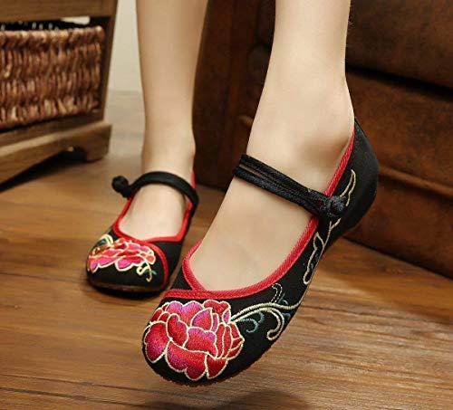 TendonStyle Chaussures Tissu EthniqueEn Fuxitoggo BrodéesSemelle FémininModeConfortableDésinvolteNoir38coloréTaille TXPkZilwOu