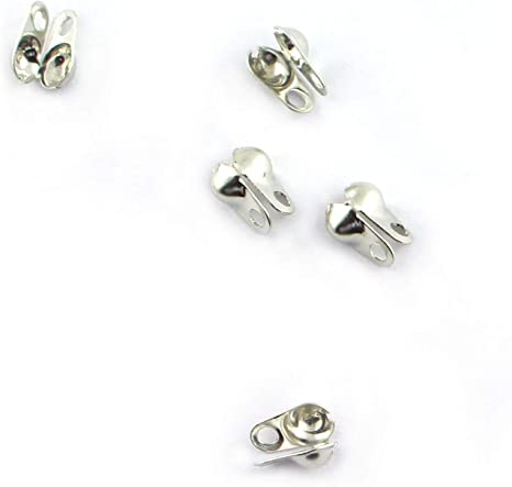 NX Garden Clamshell Endcap 200PCS Clamshell Bead Tips Clamshell Calottes Crimp End Cap for Jewelry Craft Making Silver 3.2mm