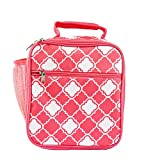 Custom Personalized Insulated Water Resistant Lunch Bag with Exterior Zipper and Mesh Elastic Pockets (Blank, Coral Small Quatrefoil)