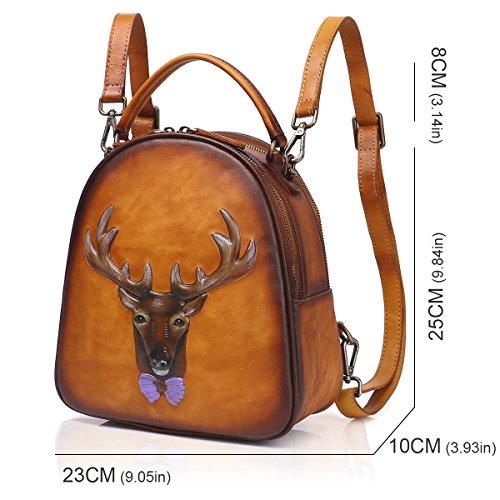 Bag Ladies Rucksack APHISON 8236 3D Purse Shoulder Women Backpack BROWN Embossing Leather wqpzaqH