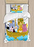 Ambesonne Religious Duvet Cover Set Twin Size, Religious Story the Ark with Animals in the Boat Journey Faith Theme Cartoon, Decorative 2 Piece Bedding Set with 1 Pillow Sham, Multicolor