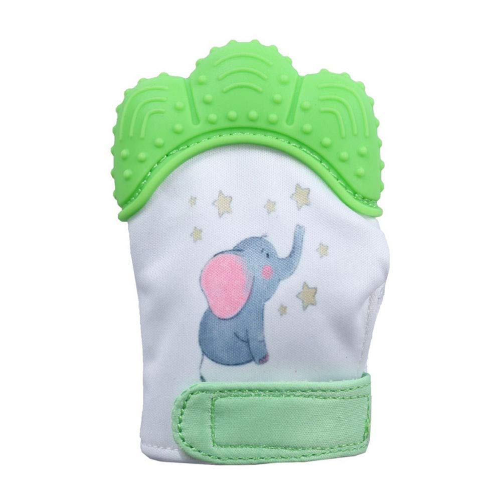 Baby Teething Mitten Toy Food Grade Silicone Teether Toys Scratch Protection Glove with Adjustable Strap Green Naisidier