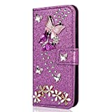 YKTO Stand Wallet Covers Samsung Galaxy S7 edge 5.5' Luxury Bling PU Leather Card Holder Purple Notebook Flip Protective Skin Phone Cases 3D Crystal Rhinestone Diamond Butterfly Decoration Shell