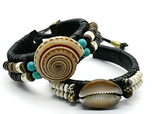 BrownBeans, Set of 2, Tribal Summer Hawaiian Style Seashell Beads Leather Women Slide Knot Adjust Bracelet (CBCT8003) (Seashell Bead Bracelet)