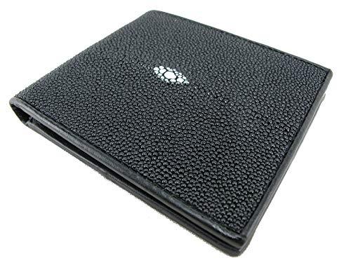 PELGIO Genuine Stingray Shagreen Skin Leather Men's Bifold Wallet Black