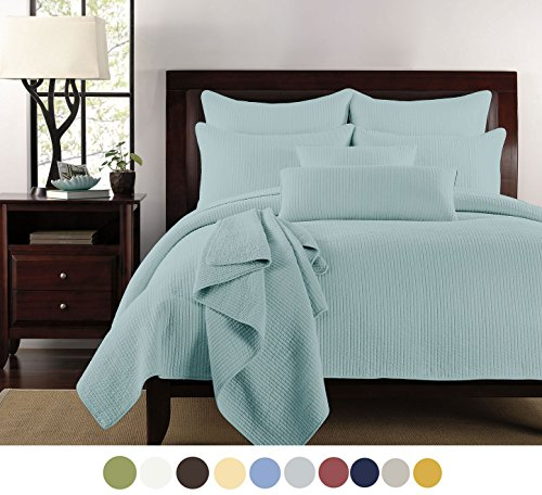 Channel Stitch Quilt - NC Bedding Inc. Lilly & Skye Channel Stitched Quilt Set, King, Ether