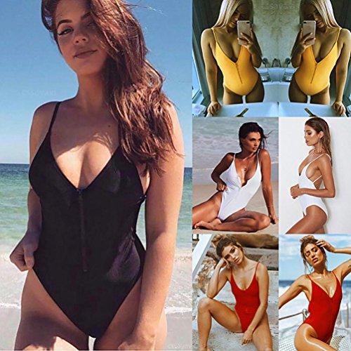 De Femme Bain Amincissante Sanfashion Triangulaire 1 Bikinis Pièces Col Maillot Sling Zippé Jaune HRawpFn