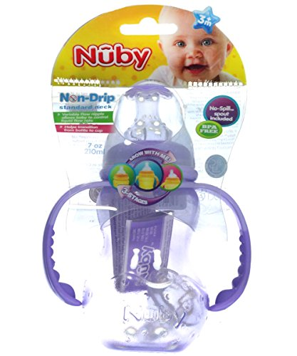 Nuby Non Drip Silicone (Nuby 3 Stage Non-Drip Bottle (7 oz.) - purple, one size)