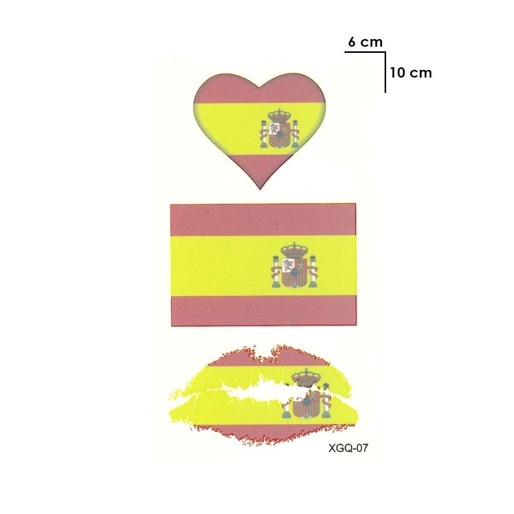 Justfox – Tatuaje temporal, diseño de bandera de España: Amazon.es ...