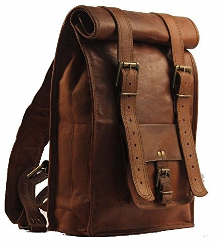 (Urban Dezire Men's Leather Vintage Roll On Laptop Backpack Rucksack knapsack College Bag)