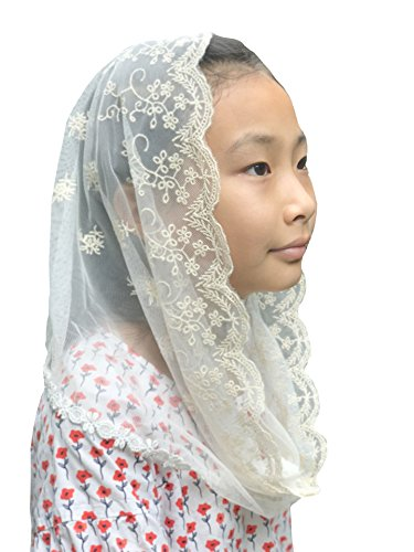 (Flowergirl Lace Veil Floret Edge Headband Lace Headwrap For Girls F07 (Ivory))