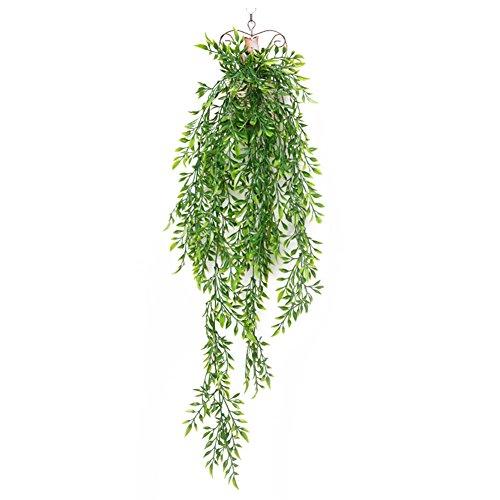 remeehi Simulación de pared 100cm flor artificial decoración flor vid verde hojas de plástico Caña araña pared, Bambú