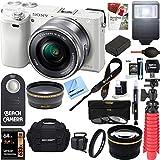 Sony Alpha a6000 24.3MP Wi-Fi Mirrorless Digital Camera + 16-50mm Lens Kit (White)