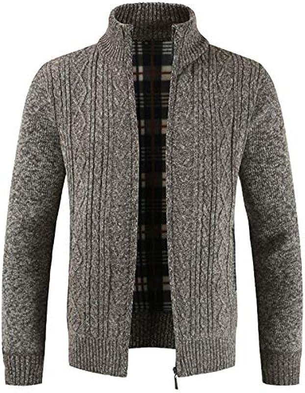 Jakflyzel Winter Męskie Strickpullover Mantel Langarm Cardigan Fleece Full Zipper Male Causal Kleidung: Odzież