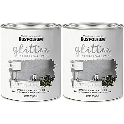 Rust Oleum 323858 Glitter Interior Wall Paint Sterling