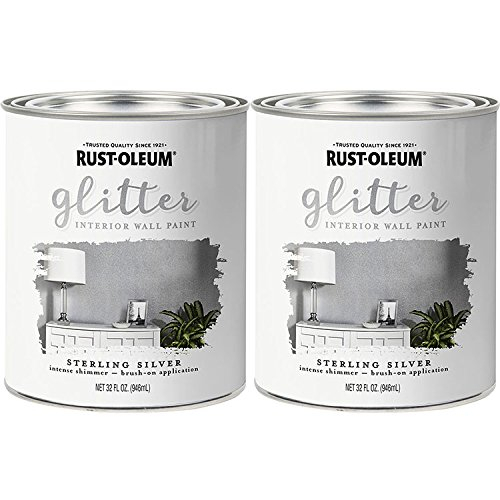 Rust-Oleum 323858 Glitter Interior Wall Paint Sterling Silver 32oz 2PK