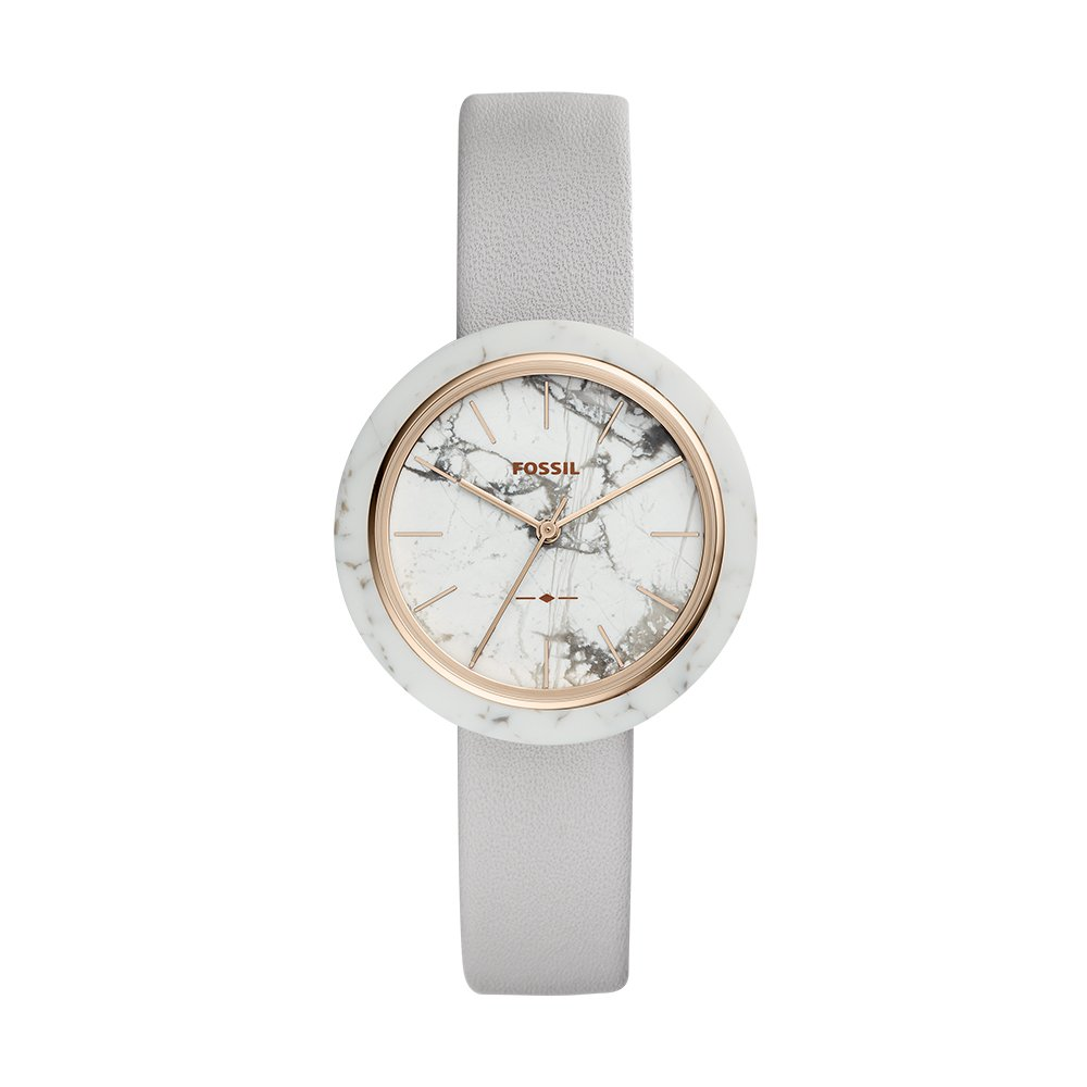 Fossil Women's 'Camille' Quartz Stainless Steel and Leather Casual Watch, Color:Grey (Model: ES4381)