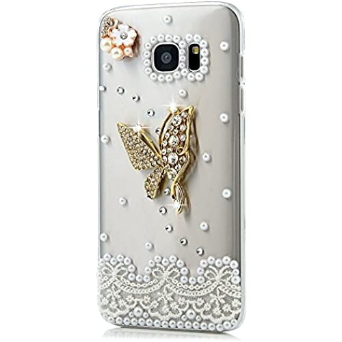 Samsung Galaxy S7 Active Case, STENES [Luxurious Series] 3D Handmade Shiny Crystal Bling Case with Retro Bowknot Anti Dust Plug - Butterfly Flowers / Gold Sales