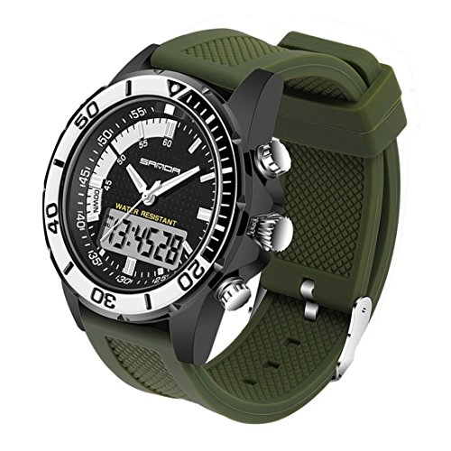 5296 LED Night Light Display & Stopwatch & Alarm & Date And Week Function Men Quartz + Digital Dual Movement Watch With Silicone Band (SKU : Wa0109gb) by Dig dog bone (Image #1)