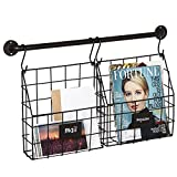 Set of 2 Metal Wire Hanging Magazine & File Organizer Rack w/ Wall Mounted Hanger Bar & 4 S-Hooks, Brown Review