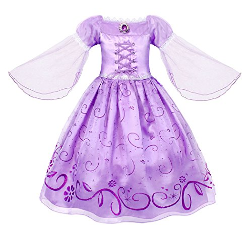 Cotrio Princess Rapunzel Dress Girls Birthday Party Halloween Costume Outfits Toddler Kids Mesh Sleeve Fancy Dresses Size 10 (9-10 Years, Purple, -