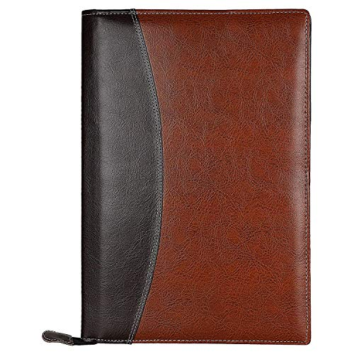 FS File Folder of Faux Leather for Holding Documents, Certificates for Daily use or Professional Purpose with 20 Leafs (Size: FS   Color: Black & Brown)