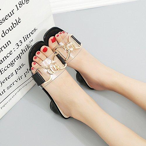 Del Arrastrar Verano De WHLShoes Laca Hebilla Cuadrada Cabeza La Cinturón Con Ocio chanclas Piel Dedos La Los Femenino Sandalias Alta Moda para La Áspera Lleva black y mujer Para TFO0qwTC